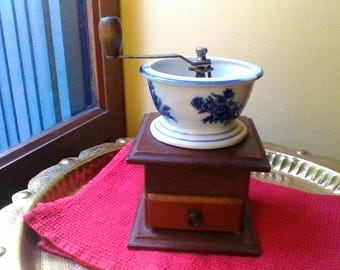 Very pretty vintage French wooden and blue and white ceramic coffee mill