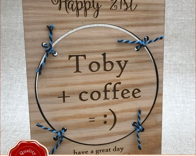 Wooden Oak Personalised Engraved Birthday Card & Coaster Freestanding Gift 21st, 18th, Birthday, Christmas
