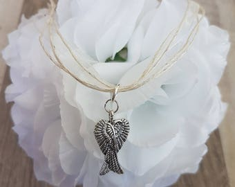 Pair Of Angel Wings Necklace (available in White, Blue, or Pink)