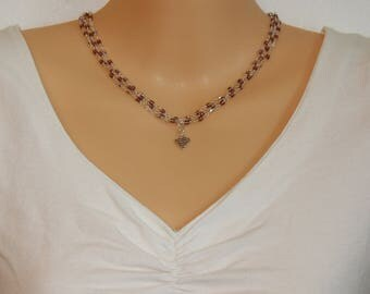 Purple 3 strand Necklace with Heart pendant