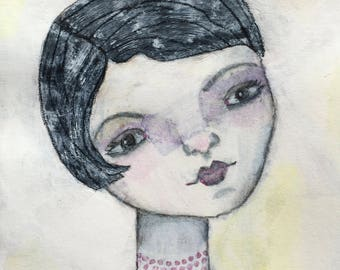 "Alchemy Soul Arts ""Mavis Wonders Where All The Time Has Gone"" 8.5""x11"" Mixed Media Portrait Art Print"