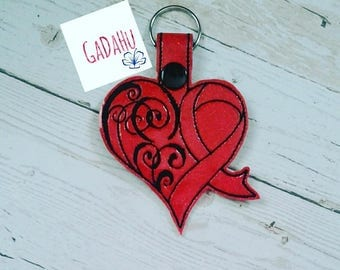 Heart Disease Awareness Key Fob Snap Tab Embroidery Design 4X4 size