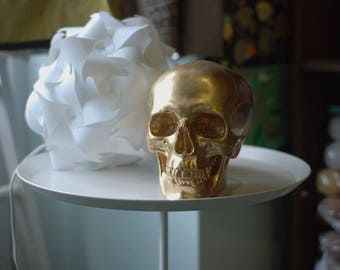 Skull Figurine Gold Decorative Gypsum Halloween Sculpture Table Decor Large Unique Original