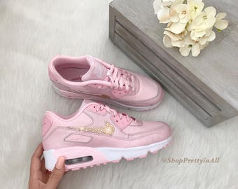 ad60b7c193 ... Nike Air Max 90 Pink Custom Bling Shoes with Rose Gold Swarovski  Crystals ...