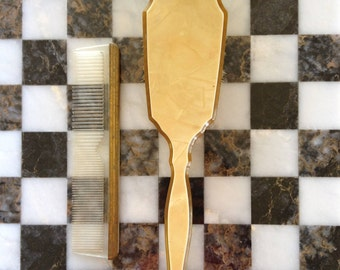Vintage Hair Brush and Comb Set|Mother-of-Pearl Hair Brush & Comb|Vanity Set