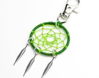 Green Dream Catcher boho bag charm