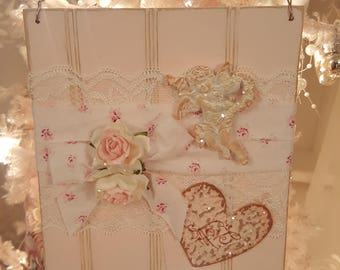 Vintage Shabby Chic Painted Wood Valentine Hanging Sign Pink Roses Pink Wainscot Love Hanger Shabby Chic Roses Romantic Cherub Heart