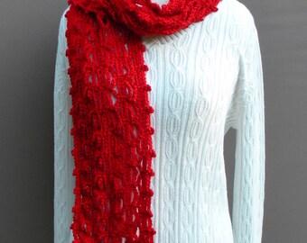 Fashion Scarf, Women's Scarf, Crochet Scarf, Winter Scarf, Women's Accessories, Red Scarf