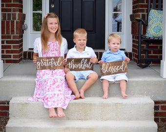 Grateful Thankful Blessed Sign Set, Rustic Wood Sign, Fall Decor, Thanksgiving Decor, Wall Decor