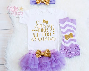 Lavender Baby Girl Shower Gift Girl Clothes Baby Girl Outfit Coming Home Outfit New Mom Baby Gift Take Home Outfit Sassy Like my mama G1LG