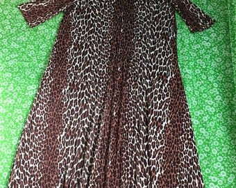 Vintage Brown Leopard Cheetah Three Quarter Sleeve Zip Up Rolled Handkerchief Collar With Tassel Long Maxi Dress Pin Up Rockabilly Tiki