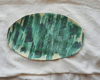 bamboo&scales oval platter in green and beige