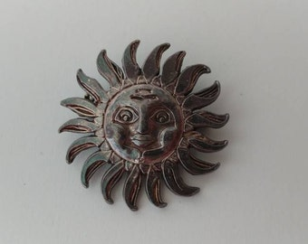 Vintage sterling silver sun face pin, Silver sun with a face brooch