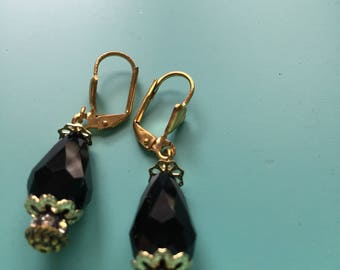 Gold Earrings / Dangle Earrings / Art Deco Black Earrings / Teardrop Earrings / Crystal Earrings / Drop Earrings / Bridesmaid Gift / Wedding