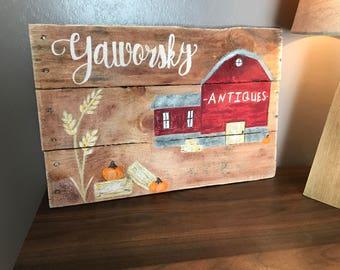 Custom barn painting pallet wood