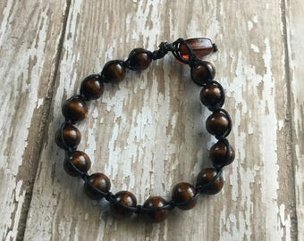 Boho / Black Hemp Cord / Brown Wood Beads / Beach / Beaded Bracelet / Free U.S. Shipping!