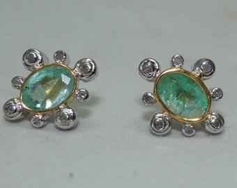 Designer 0.50cts pave diamonds Emerald sterling silver earrings - SKU PJER206