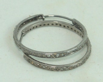 Victorian style 2.20cts pave diamonds sterling silver earrings 35mm hoops - SKU PJER212