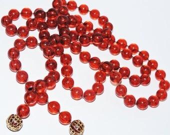Vintage Art Deco AMBER LUCITE LARIAT Necklace