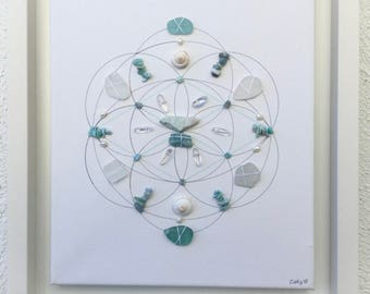 Tranquility..Crystal grid framed..Atlantis crystal..Dolphin stone..Calming crystals..Sea lovers gift..Sea stones..Larimar..Sea glass..