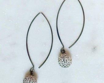 Threaded rhinestone disco ball earrings