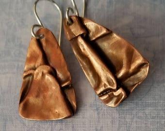Casual  copper earrings - rustic earrings - casual earrings - copper earrings - boho earrings - tribal earrings