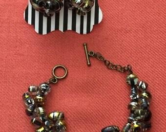 Black Pattern Bracelet with Earrings