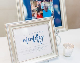 Navy In Loving Memory Wedding Sign Template DIY Wedding Sign Template PDF Wedding Sign Wedding Memory Sign Wedding In honor of