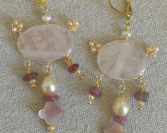 Baroque earrings rose quartz