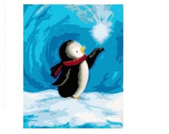 Snow Penguin Cross Stitch Chart