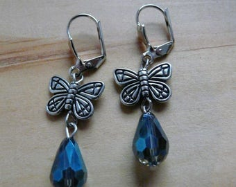 Silver butterlfy earrings, butterfly earrings, blue beads buetterfly earrings, butterfly earrings, butterfly earrings and blue glass beads
