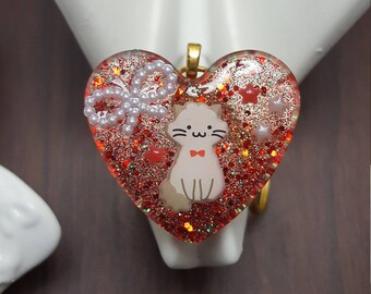 Red Kitty cabochon keychain necklace resin