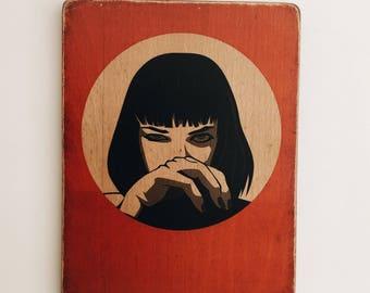 Uma Thurman - Pulp Fiction - face - Inspired by Tarantino  - John Travolta - Bruce Willis - transfer print on reclaimed wood