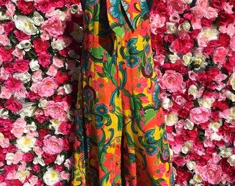 Vintage Graphic Floral Print Jumpsuit