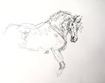 """Original Horse Drawing, """"The Watchful Draft""""/ Pen Equine Sketch"""