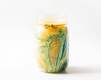 Sugared Lemon Candle (16 Oz.) - Handmade Candles - Hand Poured Candle - Lemon Candle - Scented Candle - Mason Jar Candle - Painted Candle