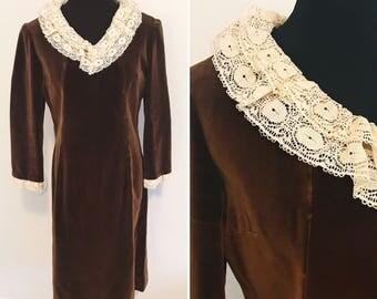 Vintage 1960s Hand Sewn Velvet Brown Shift Dress with Lace Collar - 1960s Brown Velvet Laced Dress - Vintage Velvet Dress
