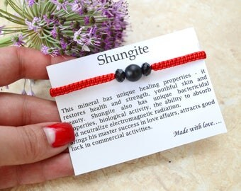 Good luck bracelet Shungite bracelet Women bracelet Red String Bracelet Energy bracelet Crown chakra Macrame bracelet Red bracelet