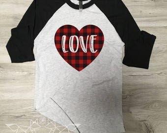 Valentine Shirt, Love Shirt, Love Wins Shirt, Buffalo Plaid, Valentine Tee, Graphic Tee, Happy Valentine Day, Shirt, Women's Valentine Shirt