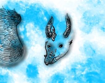 Fine Art Digital Illustration Print of Water Dragon