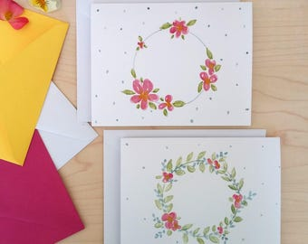 Watercolour floral wreath note cards (set of 2)