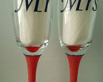 Personalised Glittered Wine Glass or Flute.  Colour choices available.  Gift Idea