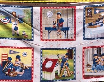 """Elizabeth Studios Baseball Panel 22""""x WOF Cotton Fabric By the Yard"""