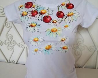 Hand Painted Tshirt, CHERRY T-shirt, Cherries Top, Hanpainted Cherry TSHIRT, Summer Hand Painted  Cherries and Daisies T Shirt Womans Tshirt