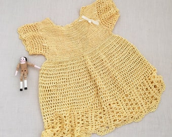 Vintage Yellow Crochet Dolls Dress - bohemian baby kids children nursery room decor - miniland doll? #0730