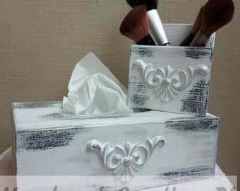 A set of wooden boxes, beauty containers, decoupage boxes, tissue box, container, white and silver
