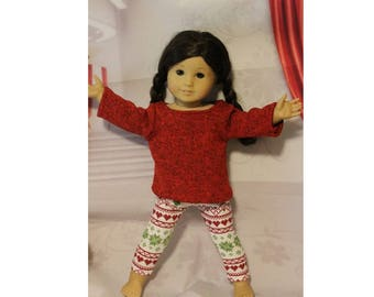 "Red Sweater & Leggings. 18"" Doll Clothes. (Clothes only, American Girl Doll, Jesse not included) Christmas Clothes for Toy Dolls. Girl Gift"