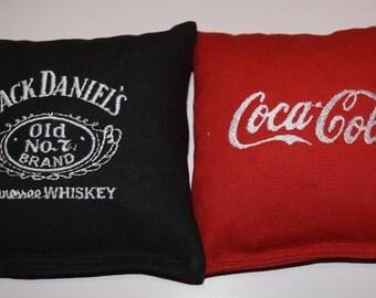 Embroidered Jack Daniels & Coca-Cola Cornhole Bags Set of Eight - Sweet