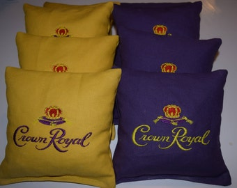 Crown Royal Emboidered Regulation Cornhole Bags - Set of 8, sweet!