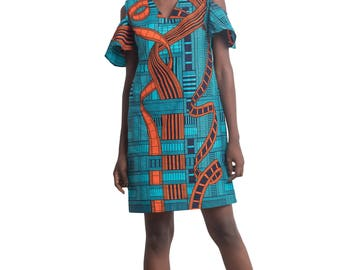 Demi Ankara African Print Dress African Clothing Nigerian Clothing African Prints for Women - Cold-Shoulder Dress